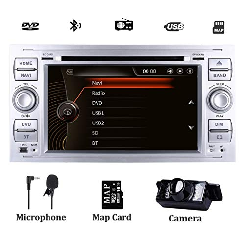 Doppel DIN Autoradio für Ford Fiesta 2005 Kuga 2008–2011 S-Max 2007–2009 Navi mit DVD-Player GPS Navigation Touchscreen Lenkradsteuerung Bluetooth 1080P Video DAB