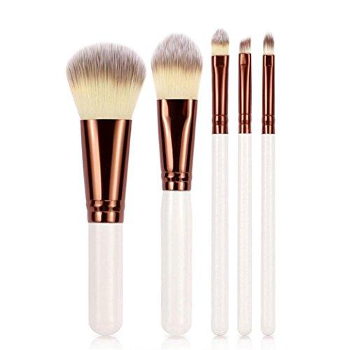 ❤️ LMMVP ❤️ Ensemble de 5PCS Pinceaux de Maquillage Poudre de Fondation Outils de Brosse à Lèvres Eyeliner Eyeshadow (5 Pcs, Mode Blanc)