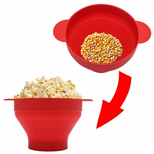 Aubess Mikrowellen-Popcorn-Maker Pop Mais Schüssel mit Deckel mikrowellengeeignet neue Küche Backwaren DIY Popcorn Eimer