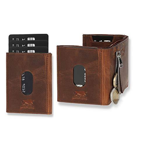 NEU: SOLO PELLE® Slim Wallet mit Münzfach [12 Karten] Slimwallet Riga [RFID-Schutz] Kartenetui mit Münzfach [Leder] Smart Wallet für Männer und Damen (Vintage Braun)