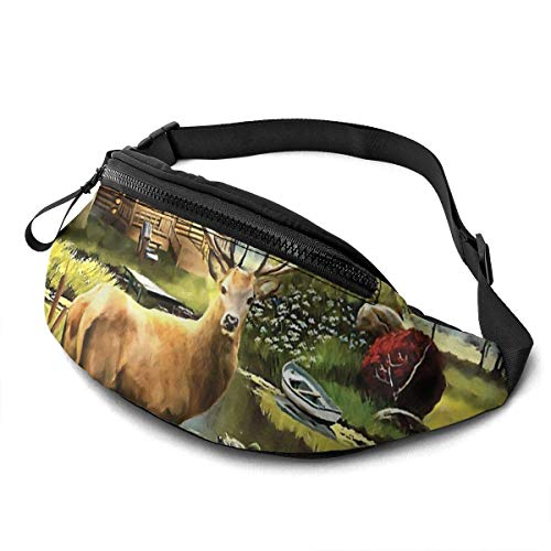XCNGG Laufende Hüfttasche Freizeit Hüfttasche Hüfttasche Mode Hüfttasche Wildlife Elk Waist Pack Bag for Men Women,Casual Fanny Packs with Headphone Socket Hip Bum Bag for Traveling Hiking Cycling Cro