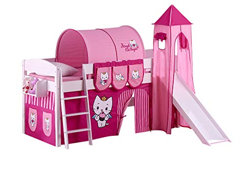 Lilokids IDA 4105 Angel Cat Sugar Play Bed with Slide - Separable System Bunk Bed White - with Curtain, Tower, Tunnel and Pockets