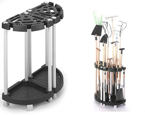 Variabler Gerätehalter aus robustem Kunststoff in Schwarz/Grau. Teilbar als Eck- oder Wandlösung. Für viele Geräte, wie Besen, Rechen u.v.m. Maße: 73 x 37,5 x 77,5 cm