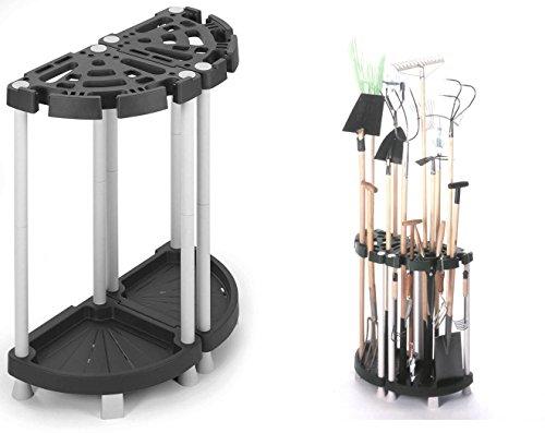 Variabler Gartengerätehalter aus robustem Kunststoff in Schwarz/Grau. Teilbar als Eck- oder Wandlösung. Für viele Geräte, wie Besen, Spaten, Rechen, u.v.m. Maße: 73 x 37,5 x 77,5 cm
