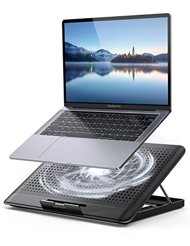 "Laptop Cooler, Lamicall Laptop Cooling Pad : Portable Height Adjustable Laptop Cooling Fan Stand Holder Riser Compatible with MacBook Air Pro Dell XPS HP Alienware Laptop Notebooks Up to 17"" - Black"