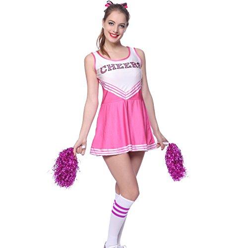 maboobie Tenue Complete Debardeur Jupe a Volant Pom-Pom Girls Cheerleader Rose AV/ 2 Pompons XXL (46-48)