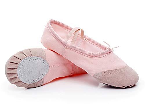Zapatillas de Ballet con Suela Partida, Lona Transpirable con Punta en Cuero, Gomas de Sujeción Precosidas (27, Rosa Claro)
