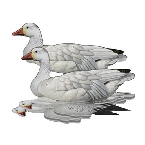 Snow Goose Decoy -  6-Pack Foldable Snow Goose for Hunting -  Land and Water Use -  Waterproof, Shot-Proof -  Realistic UV Certified Decoy Paints -  Includes Anchors, Anchor String and Fudslinger