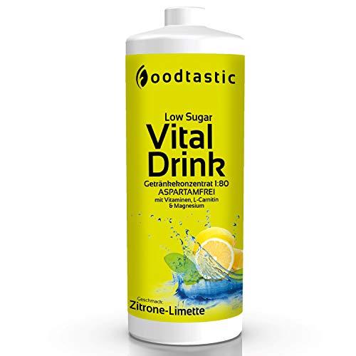 Foodtastic Vital Drink Zitrone-Limette, 1000ml Flasche, zuckerarm Vital Getränke Sirup Konzentrat 1:80 zum Mischen in Wasser