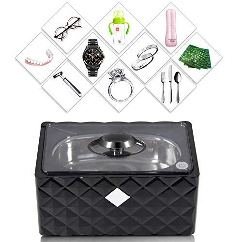 Professional Ultrasonic Jewelry Cleaner 450ml-Codyson D3000 Cleaner Machine for Jewelry Necklaces Rings Glasses Watches Dentures -Black