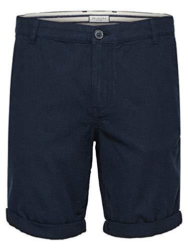 SELECTED HOMME Male Shorts Leinen LDark Sapphire