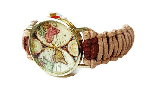 Orologio da Polso Mappamondo Donna Vintage Ecopelle Marrone e Beige Regalo compleanno amica