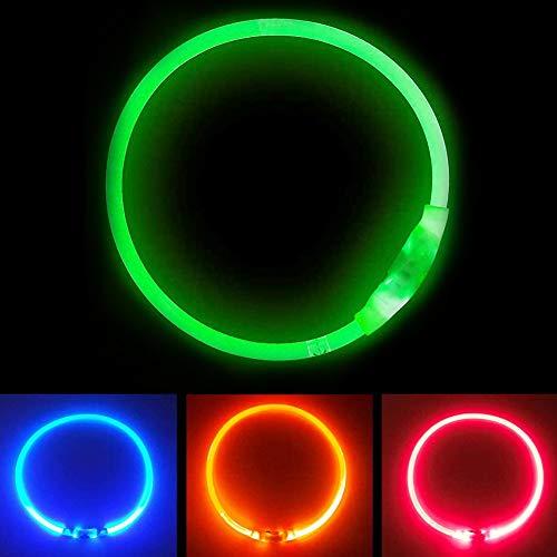 Collare Luminoso per Cani, USB Recargable Collars Luminosos para Perro, Ajustable Recargable Impermeable LED Collar, 3 Modos de LED Perro...