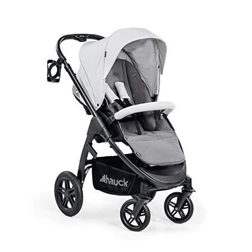 Hauck Saturn R silla deportiva todoterreno + cubrepies, giratorio, hasta 25 kg, capota XL, portavasos, regulable en altura, plegable de forma compacta, compatible con capazo y asiento de bebé - Gris