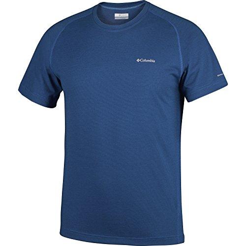 Columbia T-shirt à Manches Courtes Crew Homme, MOUNTAIN TECH III SHORT SLEEVE CREW, Polyester, Bleu (Super Bleu), Taille: M, EM6909