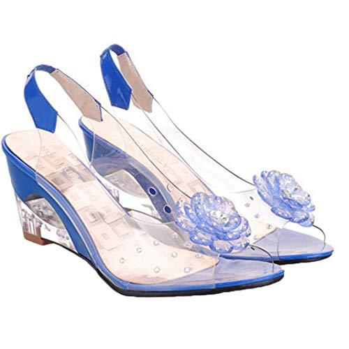 Sandalias de cuña para Mujer Zapatillas de Boca de Pescado Transparentes Zapatos de gelatina sin Cordones Tacones Altos de Verano con Punta Abierta