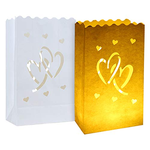 20pcs White Luminary Candle Bags Special Lantern Luminary Bag with Duo Heart Durable and Reusable Fire-Retardant Cotton Material for Wedding Valentine Reception Engagement Marriage Proposal Event