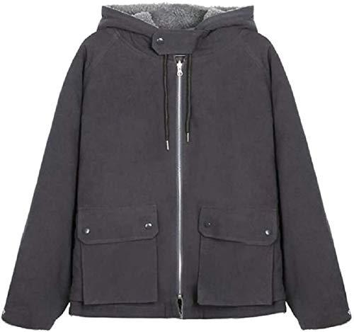 Abrigo casual con capucha para mujer con cremallera suelta chaqueta reversible con bolsillos