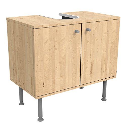 Bilderwelten Waschbeckenunterschrank Holz Apfelbirke Holzoptik Badschrank Beige, 55cm x 60cm