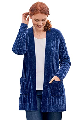Woman Within Women's Plus Size Open Front Chenille Cardigan Sweater - 1X, Evening Blue