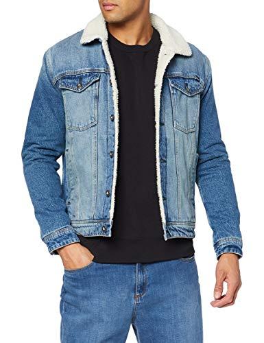 Superdry Mens Highwayman Sherpa Trucker Denim Jacket, Boyce Mid Worn Blue, X-Large