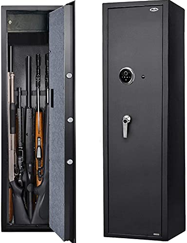Moutec Large Electronic Rifle Safe, Quick Access 5-7 Gun Large Metal Rifle Gun Security Cabinet (with/Without Scope) with Separate Pistol/Handgun Lock Box (New and Improved Biometric Fingprint Rifle)