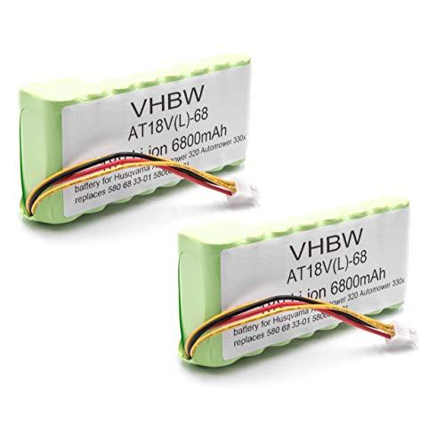 vhbw 2X batería Compatible con Husqvarna Automower 435X AWD cortacésped Robot cortacésped (6800mAh, 18V, Li-Ion)