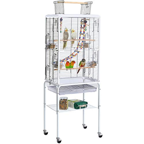 YAHEETECH Play Open Top Transparent Clear Bird Cage Birdcage for Small Birds Parakeets Sun Conures Lovebirds Canaries Cockatiels Green Cheeks Finches w/Toys & Ladder Rolling Stand