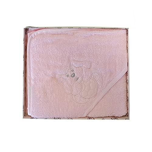 baci e abbracci Accappatoio a Triangolo Neonato/a in Spugna Puro Cotone LIABEL Baby (Rosa)