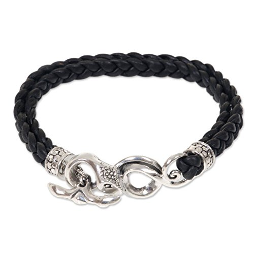 NOVICA Men's Black Double Braid Leather Bracelet with .925 Sterling Silver Snake Head Clasp, Cobra'