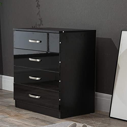 PALAKLOT Hochglanz-Schlafzimmermöbel-Serie – Kleiderschrank, Schubladen und Nachttisch – Schwarz (Kommode mit 4 Schubladen)