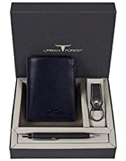 Urban Forest Leather Wallet & Keyring & Pen Combo Gift Set for Men