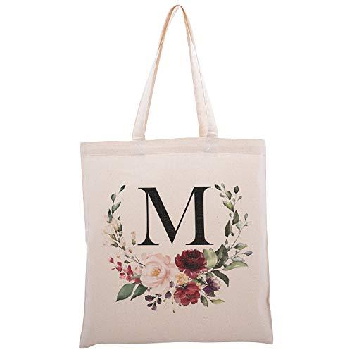 Zexpa Apparel Bolsa con diseño floral de inicial, para fiestas de despedida de soltera, para baby shower, dama de honor, Dsgn 2