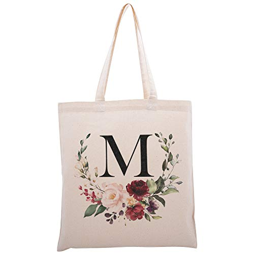 Personalized Floral Initial Cotton Canvas Tote Bag for Events Bachelorette Party Baby Shower Bridal Shower Bridesmaid Christmas Gift Bag | Daily Use | Totes for Yoga, Pilates, Gym, Workout | #2 - M
