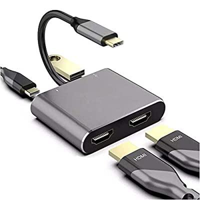 4in1 4K USB C to Dual HDMI Adapter Hub 60Hz, includes USB 3.0 and PD Input Charger Port, compatible with Thunderbolt 3, Mac, Windows, Multi-Screen Display Splitter for Type C