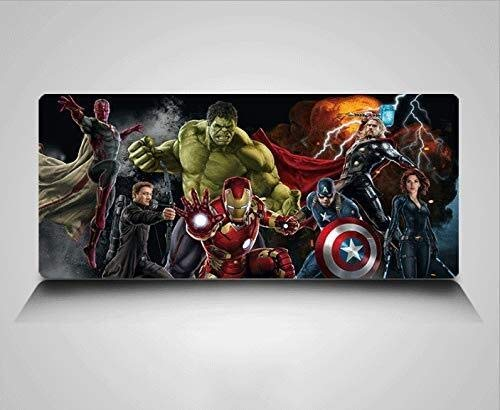 WJFQ Superman Alfombrilla de ratón Gaming Mat héroe Capitán América Iron Man Hulk Batman Negro Viuda 31.4in Nueva Unisex for PC de Escritorio del Ordenador (Size : 800x300mm)