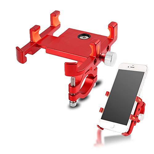 Soporte Movil Bicicleta/Motocicleta/Scooter, Aleación de Aluminio Rotación 360° Soporte Manillar para iPhone, Samsung, Huawei, y Otra 3.5-6.2' Smartphones (Rojo)
