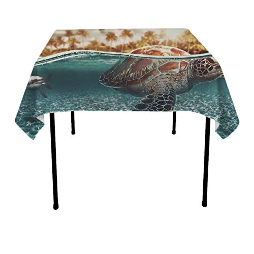 Sea Turtle Square Tablecovers Polyester Spillproof Wrinkle Free Tablecovers - Dinning Tabletop Decoration Celebrations Outdoor Party BBQ Table Toppers