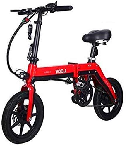 Bicicleta eléctrica plegable de alta velocidad para adultos, viaje con batería de iones de litio de 36 V/10 Ah con 3 modos de conducción (color rojo)