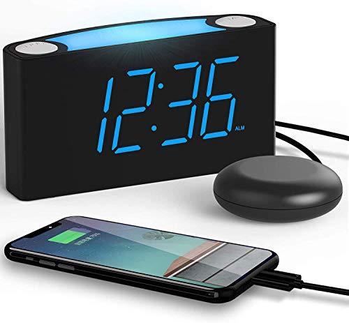 MingXinJia Relojes de Cabecera para el Hogar Reloj Despertador Ruidoso con Cama Vibratoria Agitadora, Pantalla Led Grande con Atenuador, Luces Nocturnas de 7 Colores, Puertos de Carga Usb Dobles para