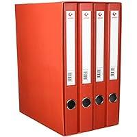 Grafoplás 7282451-Módulo de 4 archivadores con palanca de 65mm color rojo