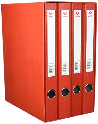 Grafoplas 7282451-Modulo de 4 archivadores con palanca de 65mm color rojo