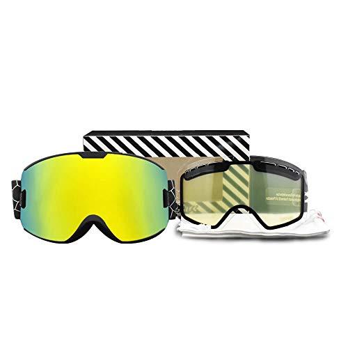 Skibrille für Herren und Damen, doppelschichtig, beschlagfrei, UV400-Schutz, Skibrille, Snowboardbrille, schwarz/gelb