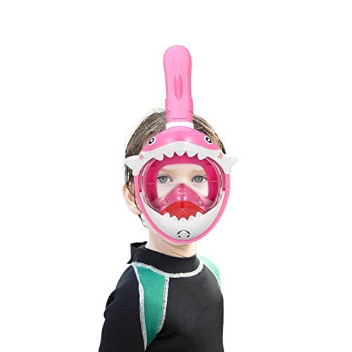 SMACO Schnorchelmaske Vollmaske Kinder Tauchmaske Vollgesichtsmaske mit 180° Sichtfeld und Kamerahaltung,Anti-Fog und Anti-Leck, Faltbare Vollgesichtsmaske für 4-10 Jahre Kinder—Rosa