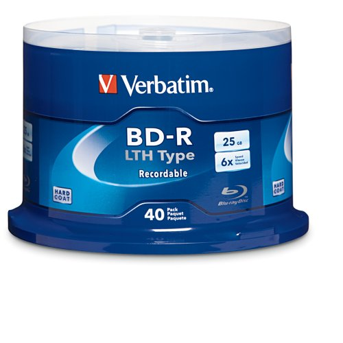 Verbatim BD-R 25GB LTH Type Logo, Blu-ray Recordable Disc 6X Speed, Cakebox 40 Disc