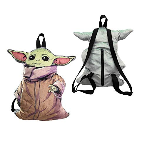 The Child Star Wars Baby Yoda 3D Shaped Plush Backpack - Collectible Baby Yoda Plush Star Wars Backpack 3D Figure Design, Movie Character Toy Knapsack, Travel Bag, Purse & Schoolbag for Kids & Adults