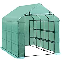 ✅Suitable for flowers, vegetable and fruit planting, protect them from rain, wind, bird damage and strong sunlight. -Reinforced 140 g/mҠgreen PE gridding fabric ensures the cover durable. ✅Anti-UV, translucent. ✅4-tier shelf on each side for plants d...