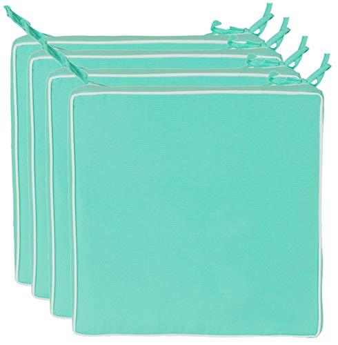 Brandsseller Outdoor Sitzkissen Kissen Dekokissen - Schmutz- und Wasserabweisend - 220 gr. Füllung - Größe: 40 x 40 x 4 cm - 4er Vorteilspack Farbe: Türkis