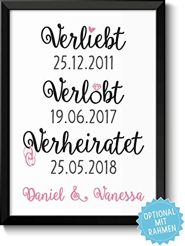 VERLIEBT VERLOBT VERHEIRATET Bild mit Namen personalisiert optional mit Holz-Rahmen Geschenk Geschenkidee Verliebte Paare