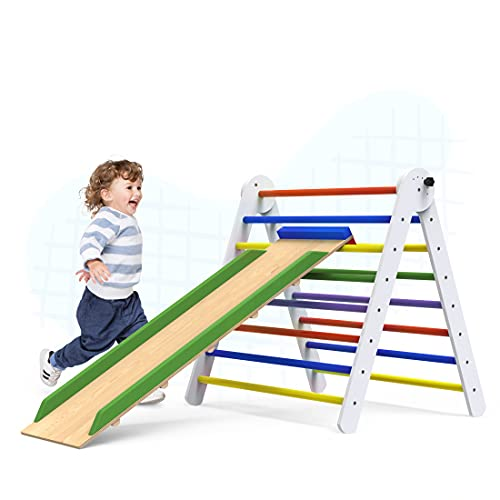 Pikler Triangle Climber with Ramp – Premium Wooden Climbing Triangle for Sliding and Climbing – 2 in 1 Stable Toddler Climber Structure – Indoor Kids Climbing Toys – Foldable Kids – TRIANGLE-COLOR